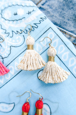 "THE KELSEY 1-1/4"" WHITE cotton & gold tinsel tassel earrings"