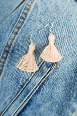 "THE BECCA 1-1/4"" CREAM/TAN silver hook tassel earrings"