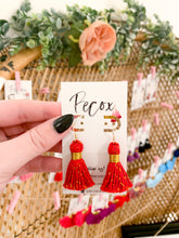 "Load image into Gallery viewer, THE SARA (with no h)  1-1/4"" RED cotton & gold tinsel tassel earrings"
