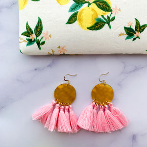 THE Taylor bright brass + light pink tassel earrings