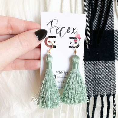 "THE LIZ 2"" sage green silky tassel earrings"