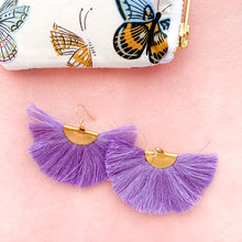 Load image into Gallery viewer, THE JAYDEN fan lavender tassel earrings