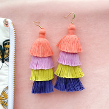 Load image into Gallery viewer, THE ALINDA PEACH, PURPLE, CITRON + NAVY OMBRÉ 4-tier tassel earrings