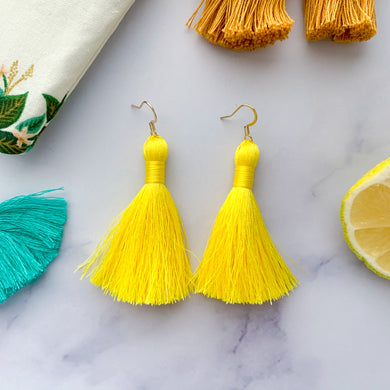 "THE PATRICIA MINI 2"" bright yellow silky tassel earrings"