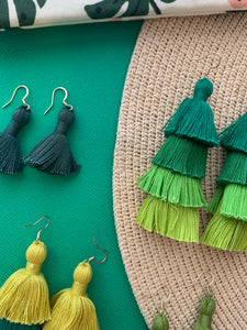 "THE MEGAN 1-1/4"" DEEP green tassel earrings"