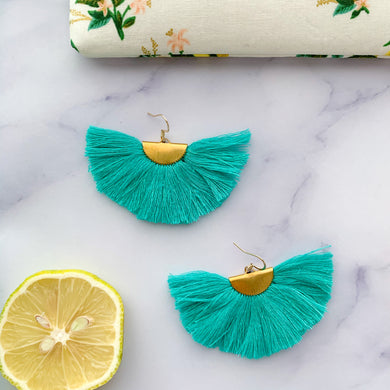THE Nicole fan turquoise tassel earrings