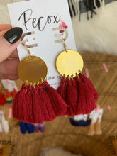 Load image into Gallery viewer, THE BEABETH bright brass + MAROON tassel earrings