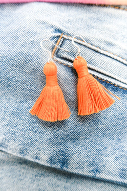 "THE GABBY 1-1/4"" orange silver hook tassel earrings"