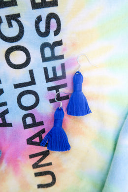 "THE LEX 1-1/4"" blue tassel earrings"