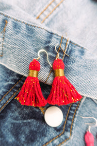 "THE SARA (with no h)  1-1/4"" RED cotton & gold tinsel tassel earrings"