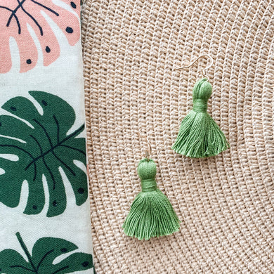 "THE ASHLEY 1-1/4"" green tassel earrings"