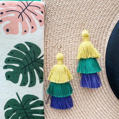 "THE RAE 2.75"" YELLOW, GREEN + PURPLE OMBRÉ 3-tier tassel earrings"
