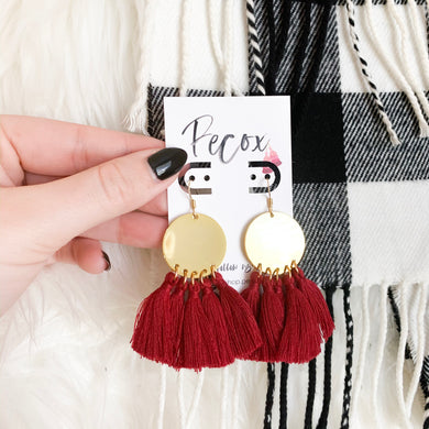 THE BEABETH bright brass + MAROON tassel earrings