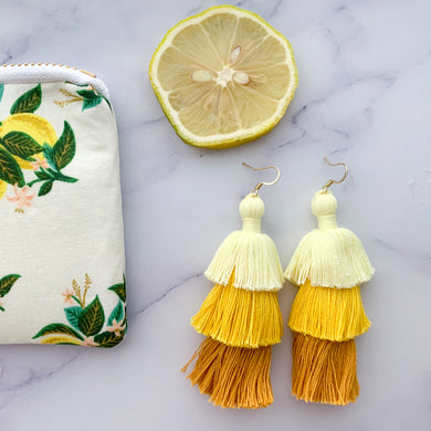 THE Kayla yellow ombre 3-tier tassel earrings