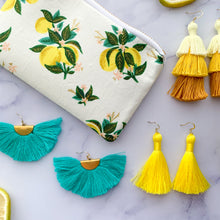 Load image into Gallery viewer, THE Kayla yellow ombre 3-tier tassel earrings