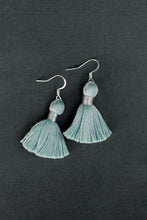 "Load image into Gallery viewer, THE JENNIFER 1-1/4"" LIGHT TURQUOISE silver tassel earrings"