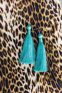 "THE JUDITH 3.5"" LIGHT TURQUOISE silky tassel earrings"