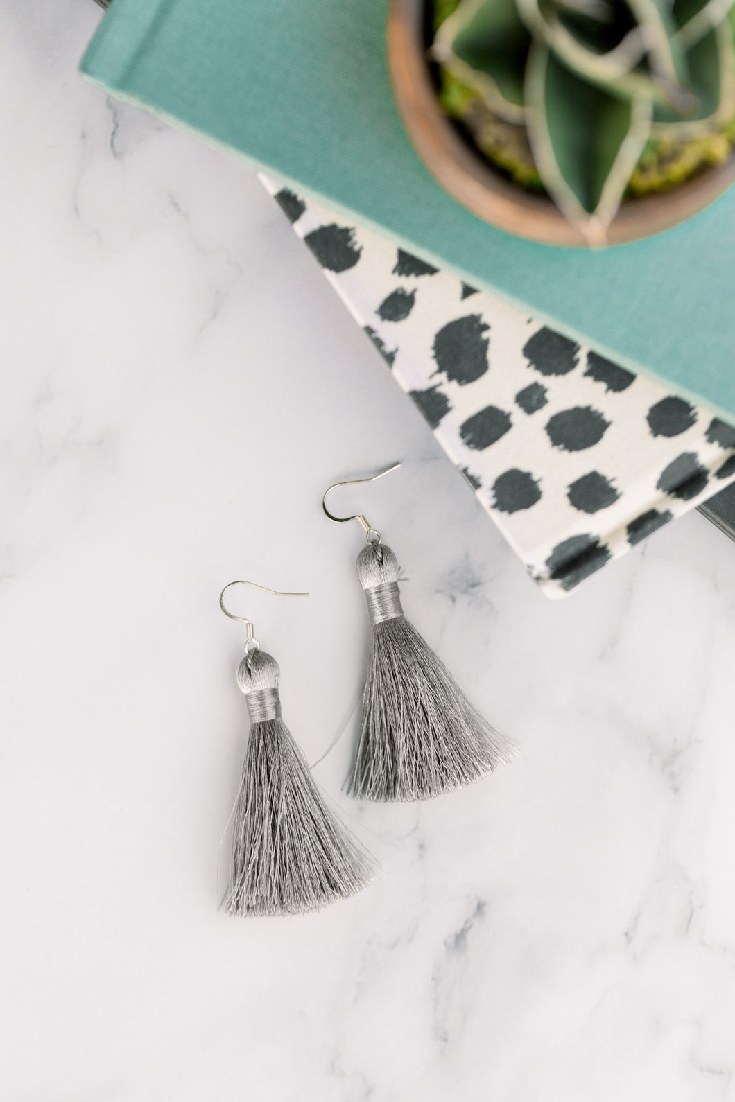 "THE LACEY 2"" SILVER silky tassel earrings"