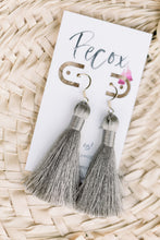 "Load image into Gallery viewer, THE LACEY 2"" SILVER silky tassel earrings"