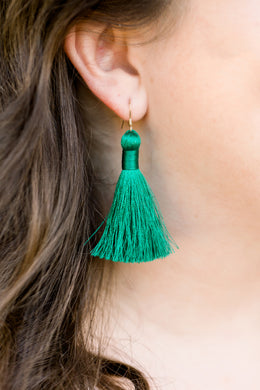 "THE LORENA 2"" PEACOCK silky tassel earrings"