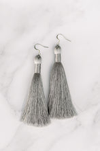 "Load image into Gallery viewer, THE NANCY 3.5"" SILVER silky tassel earrings"