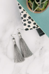 "THE NANCY 3.5"" SILVER silky tassel earrings"