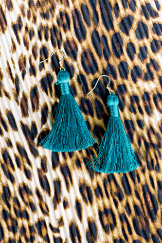 "THE TRINITY 2"" TURQUOISE silky tassel earrings"