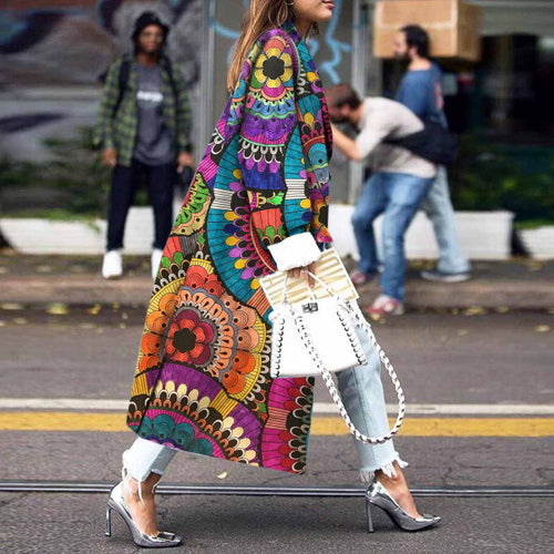 Female 2020 Fashion Women Autumn  Print Trench Coat - Cirque Africa Merchandise
