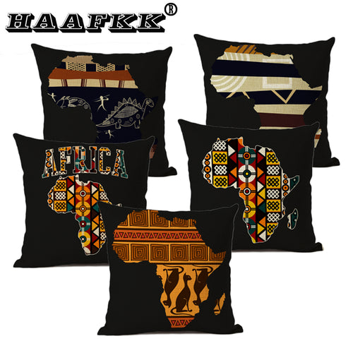 Map of Africa Geometrics Decorative Sofa House Throw Pillowcase Nordic Cotton Sheets African Pattern, Pillow Cap - Cirque Africa Merchandise
