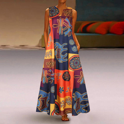 Floral Printed Maxi Long Dress Casual Dress - Cirque Africa Merchandise