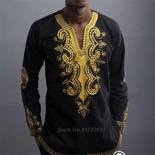 Load image into Gallery viewer, Men Golden Print Long Sleeve Shirt - Cirque Africa Merchandise