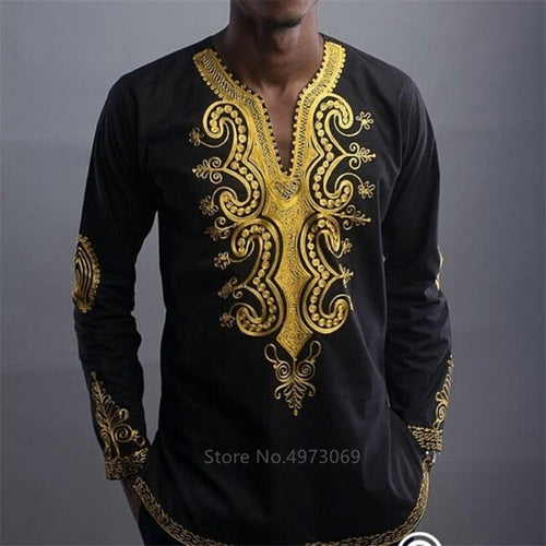 Men Golden Print Long Sleeve Shirt - Cirque Africa Merchandise