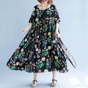 Sundress Vintage Dress 2020  Short Sleeve Long Vestidos Fashion Female Patchwork Robe Oversize - Cirque Africa Merchandise