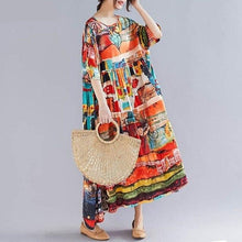 Load image into Gallery viewer, Sundress Vintage Dress 2020  Short Sleeve Long Vestidos Fashion Female Patchwork Robe Oversize - Cirque Africa Merchandise