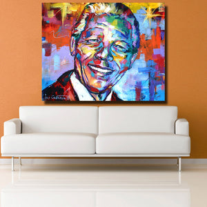 Nelson Mandela Portrait  Oil Painting Acrylic on Canvas Art Prints for Living Room Home Decoration - Cirque Africa Merchandise