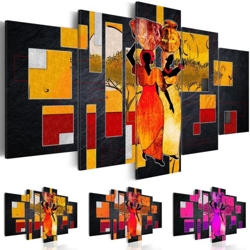 5 Panel Canvas Wall Abstract African Women Art - Cirque Africa Merchandise