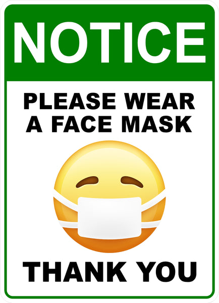 "Face Mask Sign Emoji 9"" x 6.5"" 3M Vinyl Label 2PK"