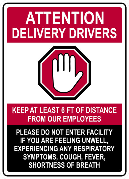 "Delivery Drivers 3M Vinyl Decal Sign  (9"" x 6.5"")"