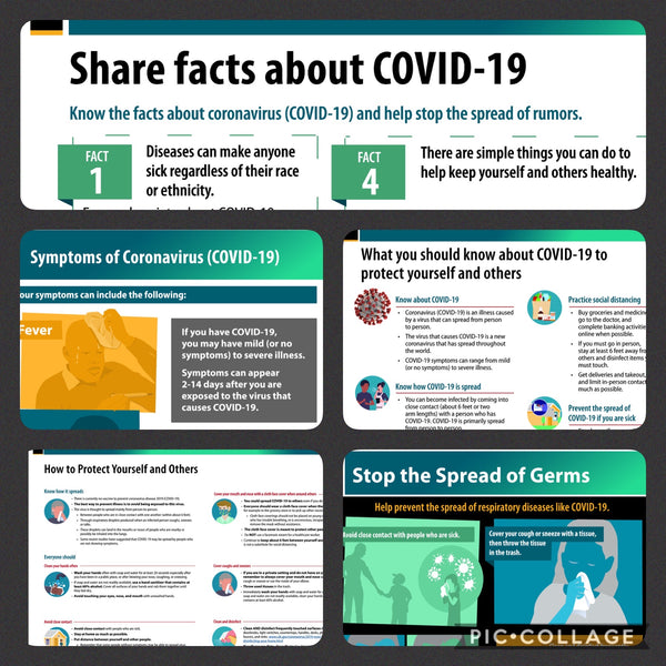 "COVID-19 -  CDC Poster Sticker Kit (5 Notices)  18"" x 24"""