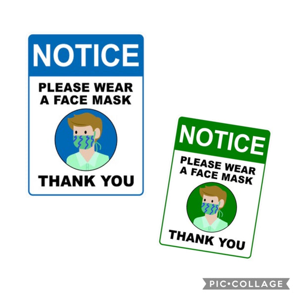 "Face Mask Sign Corporate  3M Vinyl Label 9"" x 6.5""  2PK"