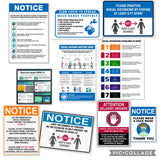 Facility Sign Package COVID-19 CDC Recommendations  (14 Pcs Kit) BLUE
