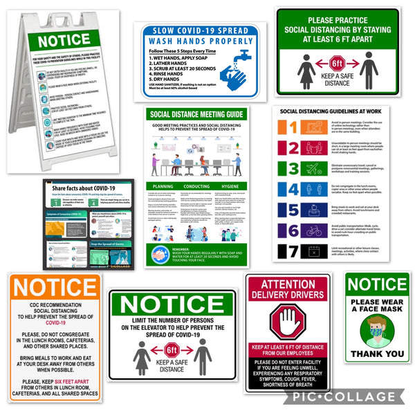 Facility Sign Package COVID-19 CDC Recommendations  (14 Pcs Kit) GREEN