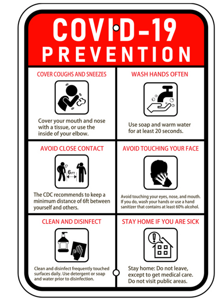 "COVID-19 Prevention Sign 12"" x 18"" Aluminum"