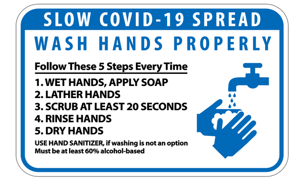 "COVID-19 Hand Washing  3M Vinyl Label 7""x 5"" 2PK"