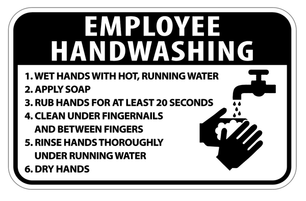 "Hand Washing 3M Vinyl Label 7""x 5"" 2PK"