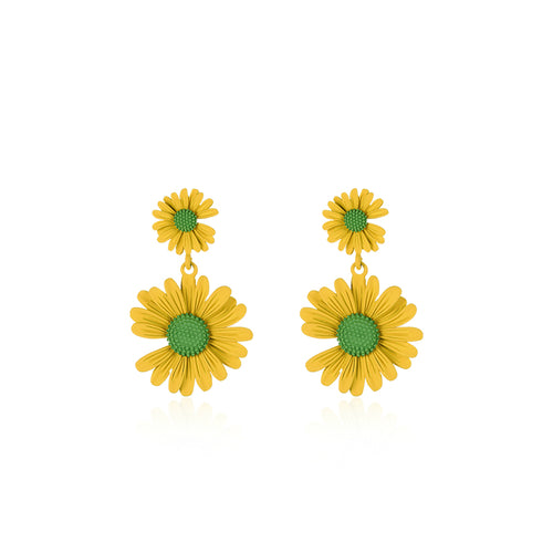 Doubled Yellow Daisy Layered Earrings