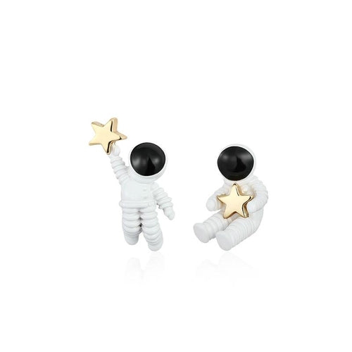 Asymmetrical Astronauts Stud Earrings