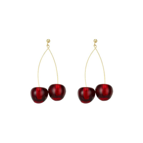 Paired Cherry Drop Earrings