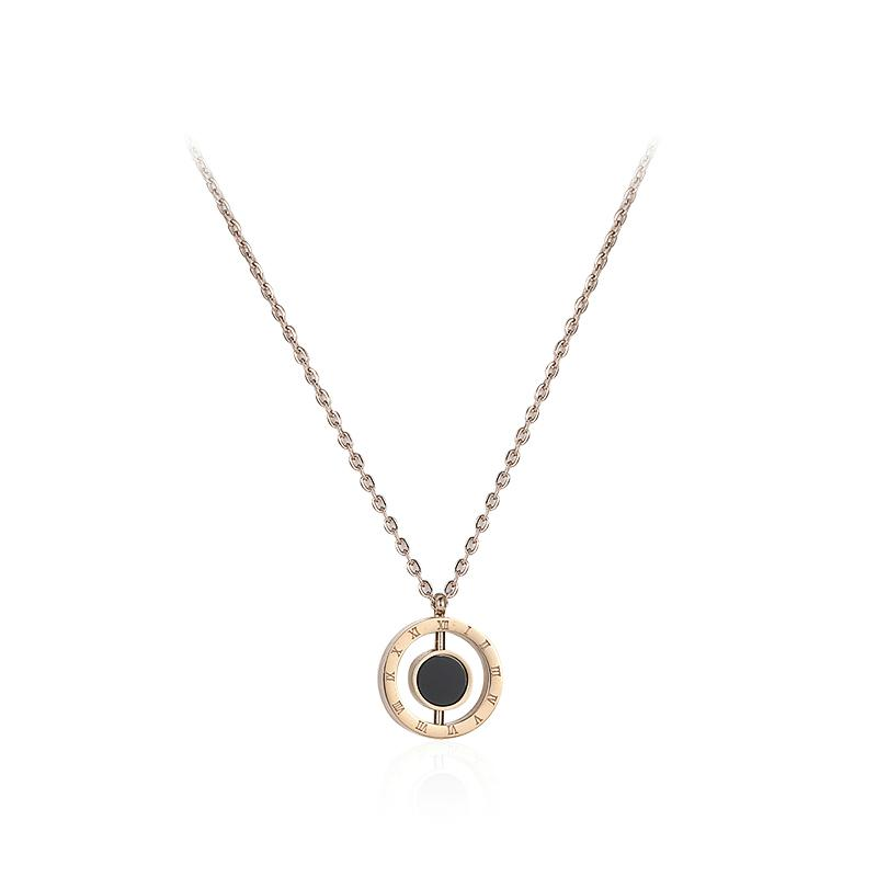 Black Circle Pendant Necklace
