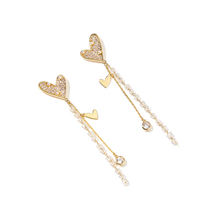 Tasseled Heart Earrings